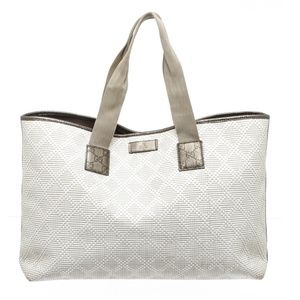 Gucci White Olive Green Straw Shopper Tote Bag